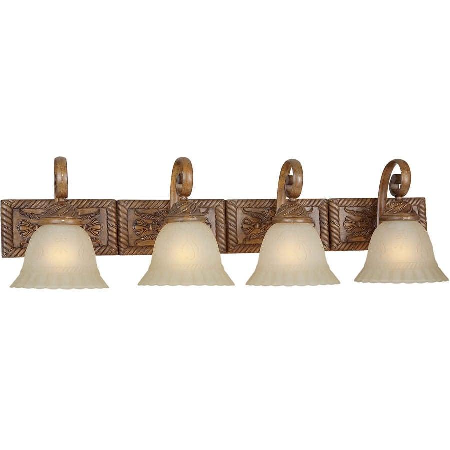 Rustic Bathroom Lighting Lowes: Shop 4-Light Shandy Rustic Sienna Bathroom Vanity Light At