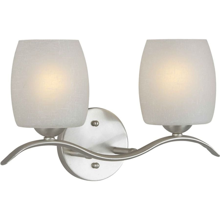 Shandy 2 light 15 in brushed nickel vanity light at - 8 light bathroom fixture brushed nickel ...
