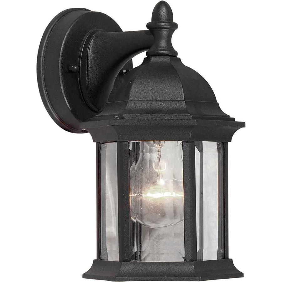 10-in H Black Outdoor Wall Light