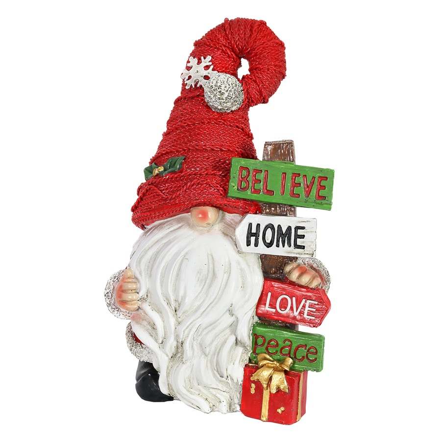 Exhart Believe Home Peace Christmas Signs Gnome With Signpost Multicolor At Lowes Com
