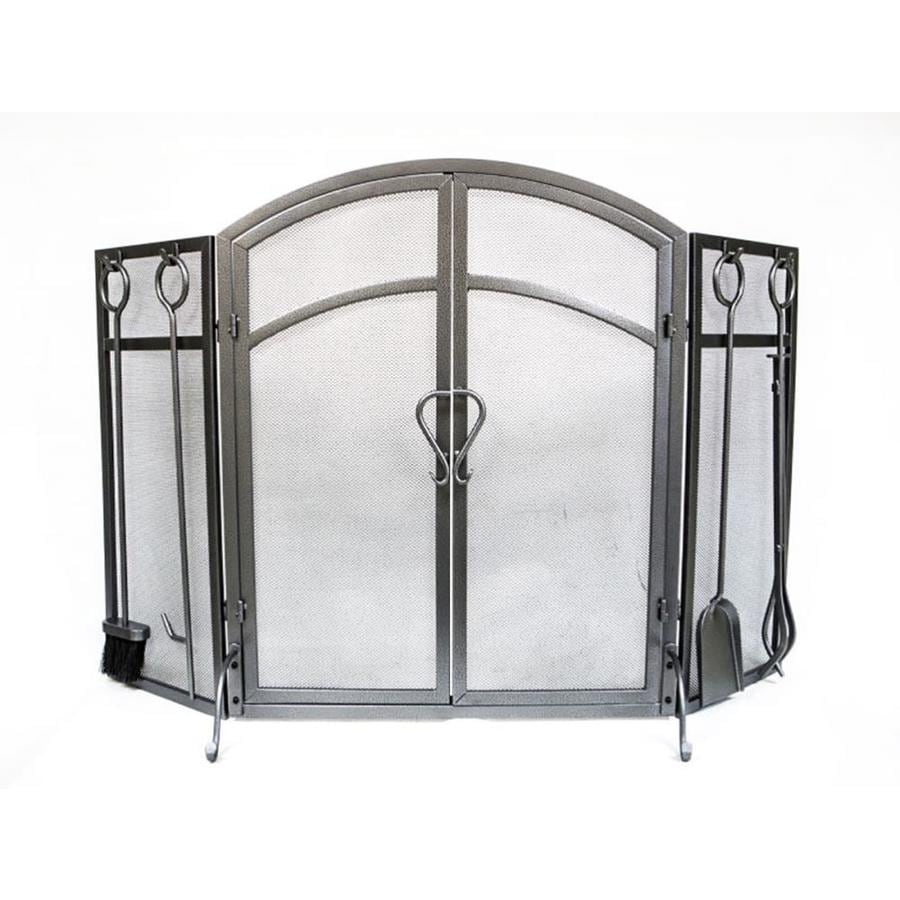shop 50 3 in old world pewter steel 3 panel arched twin fireplace