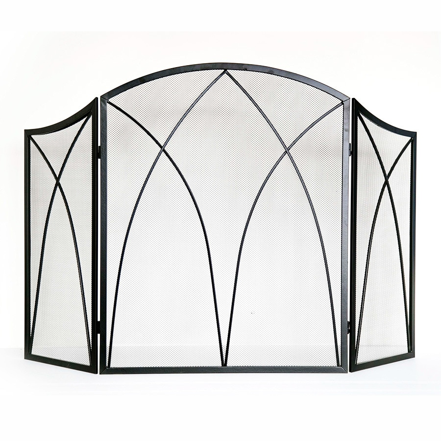 Style Selections 47.87-in Black Powder Coated Steel 3-Panel Arched Fireplace Screen