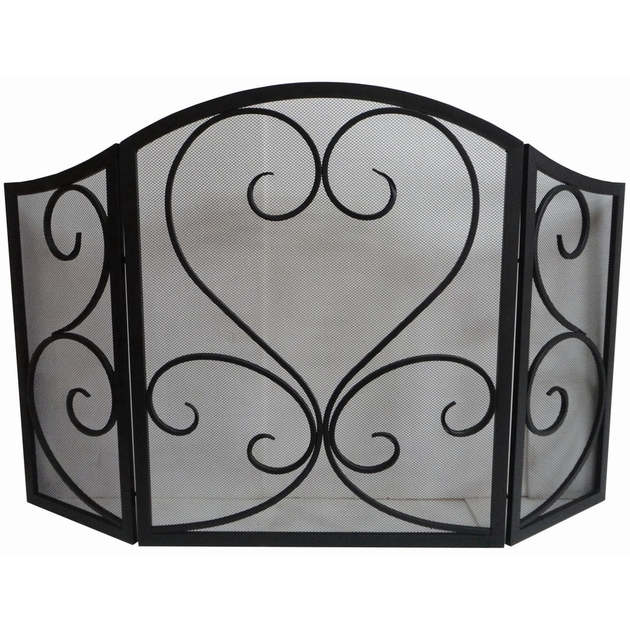 Shop allen + roth 50.23-in eggshell black powder coated steel 3-panel scroll fireplace screen at Lowes.com
