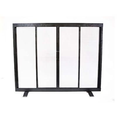 38 97 In Black Powder Coated Steel Flat Twin Fireplace Screen