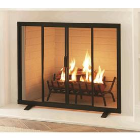 3e57bd3eabdc Style Selections 38.97-in Black Powder Coated Steel Flat Twin Fireplace  Screen