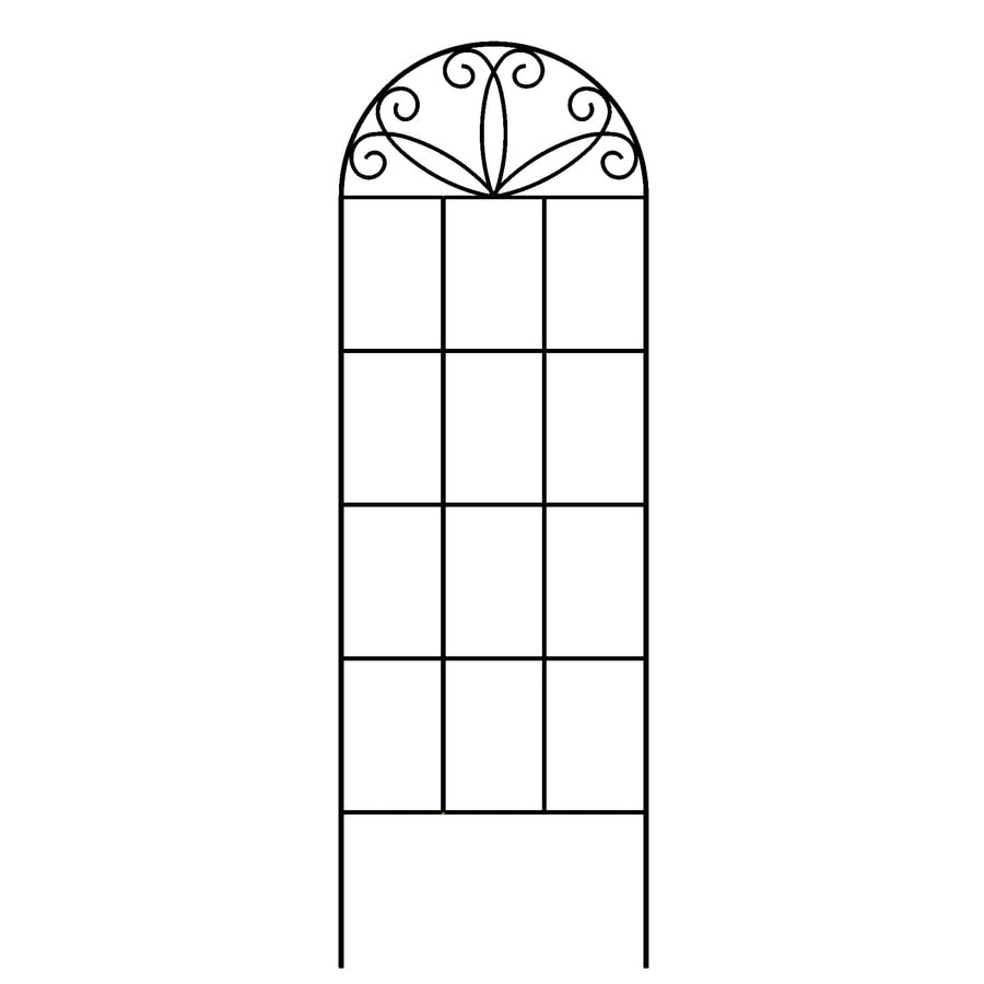 Garden Accents 12-in W x 36-in H Black Scroll Garden Trellis