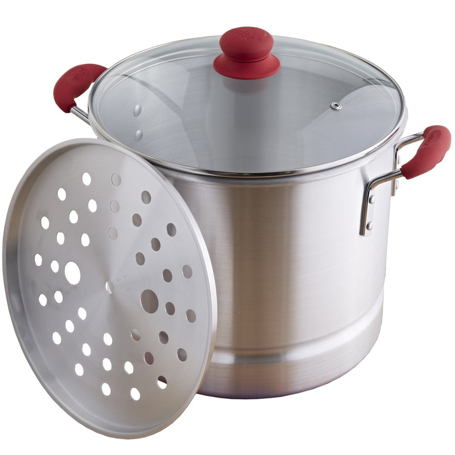 IMUSA Global Kitchen 16-Quart Aluminum Steamer Pot with Lid and Basket