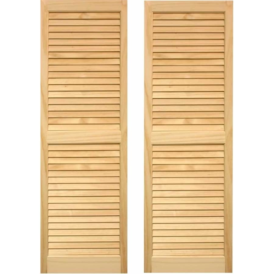 Pinecroft 2 Pack Unfinished Louvered Wood Exterior Shutters (Common: 15 In X