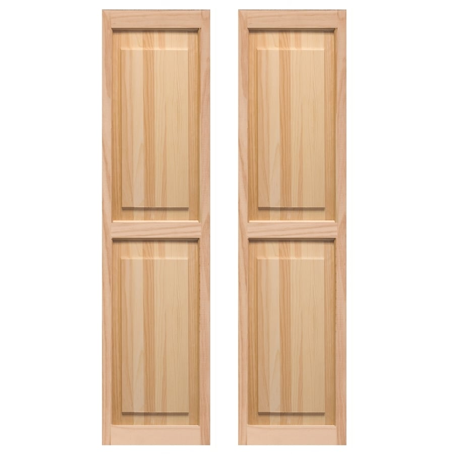 Pinecroft 2-Pack Unfinished Raised Panel Wood Exterior Shutters (Common: 15-in x 43-in; Actual: 15-in x 43-in)