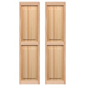 Pinecroft 2 Pack Unfinished Raised Panel Wood Exterior Shutters