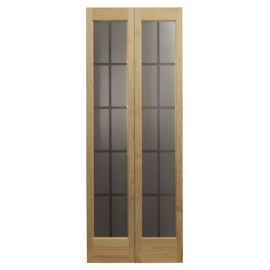 36 In X 80 In Pine Unfinished 2 Panel Full Louver Wood: Shop Pinecroft Colonial Glass Unfinished Pine Wood 2-Panel