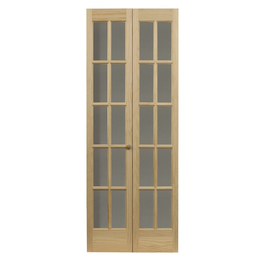Pinecroft Clic French Unfinished Pine Wood 2 Panel Square Bifold Door Hardware Included Common 30 In X 80 Actual 29 5 78 625
