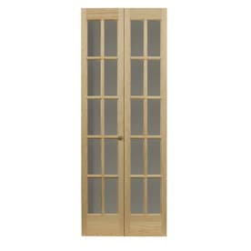 Superbe Pinecroft Classic French Unfinished Pine Wood 2 Panel Square Wood Pine  Bifold Door With Hardware