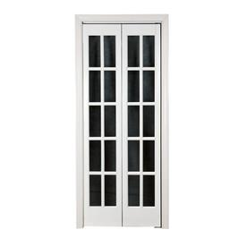 Pinecroft Classic French Prefinished White Pine Wood 2 Panel Square Wood  Pine Bifold Door With