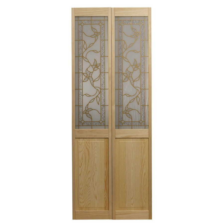 Pinecroft Tuscany Solid Core 1-Lite Patterned Glass Pine Bi-Fold Closet Interior Door (Common: 24-in x 80-in; Actual: 23.5-in x 78.625-in)
