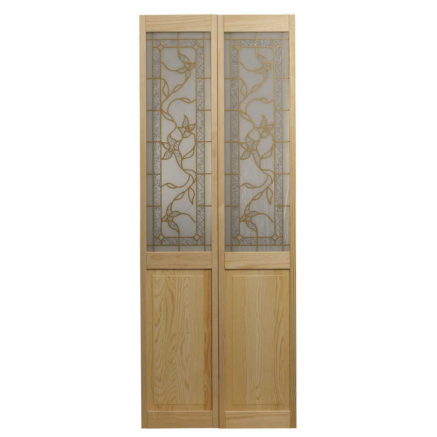 Pinecroft Tuscany Solid Core Patterned Glass Pine Bi-Fold Closet Interior Door with Hardware (Common: 32-in x 80-in; Actual: 31.5-in x 78.625-in)