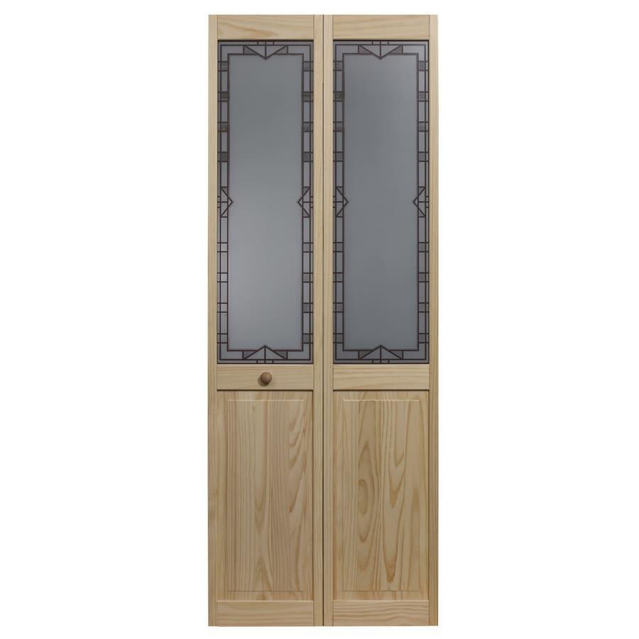 Pinecroft Design Tech Solid Core 1-Lite Patterned Glass Pine Bi-Fold Closet Interior Door (Common: 24-in x 80-in; Actual: 23.5-in x 78.625-in)