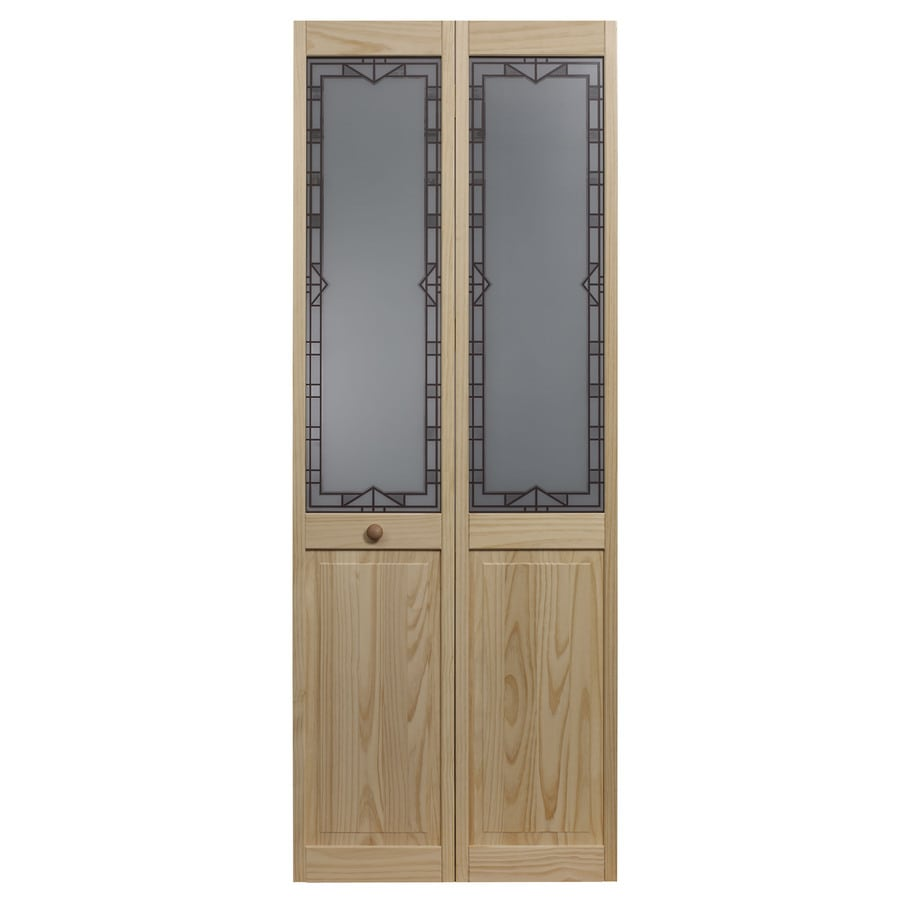 Pinecroft Design Tech Solid Core Patterned Glass Pine Bi-Fold Closet Interior Door with Hardware (Common: 30-in x 80-in; Actual: 29.5-in x 78.625-in)
