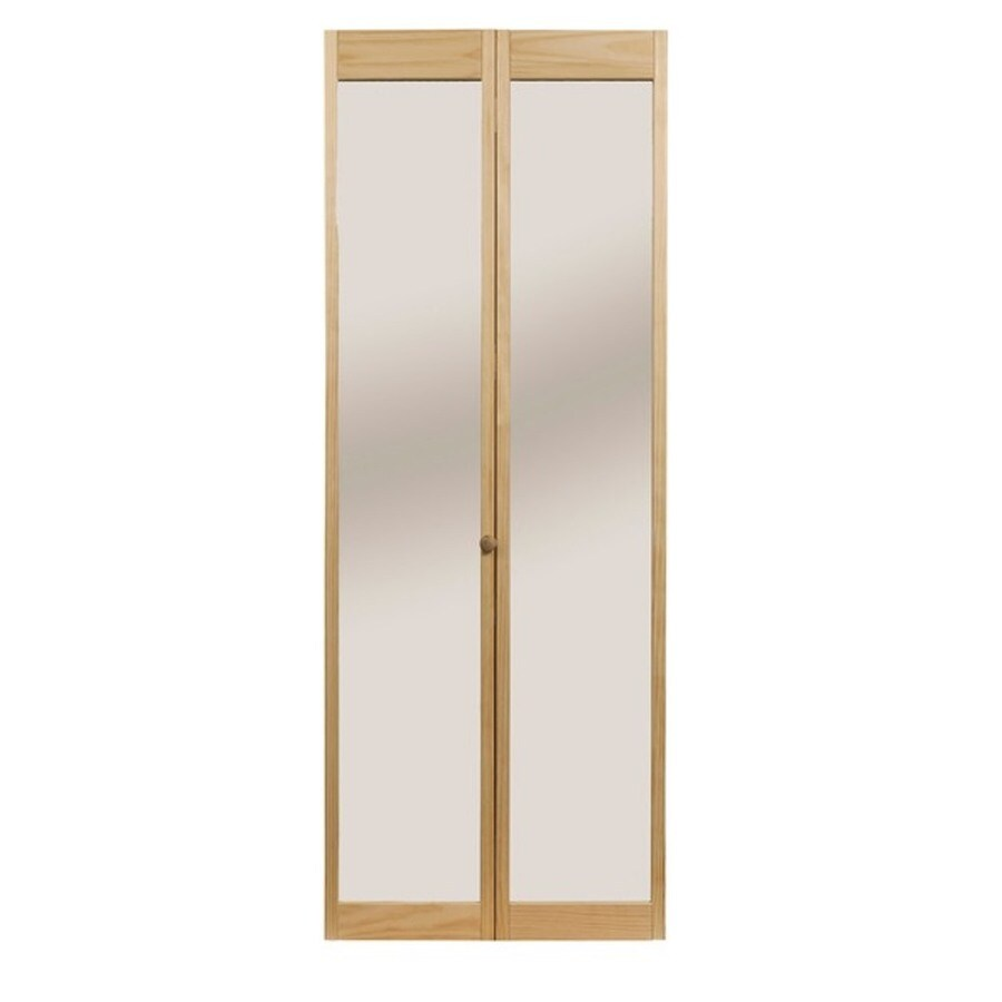 Pinecroft Solid Core Mirror Pine Bi-Fold Closet Interior Door with Hardware (Common: 32-in x 80-in; Actual: 32-in x 80.5-in)