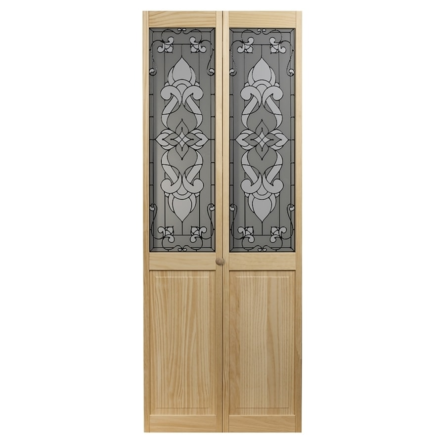 Pinecroft Bistro Solid Core Patterned Glass Pine Bi-Fold Closet Interior Door with Hardware (Common: 24-in x 80-in; Actual: 23.5-in x 78.625-in)