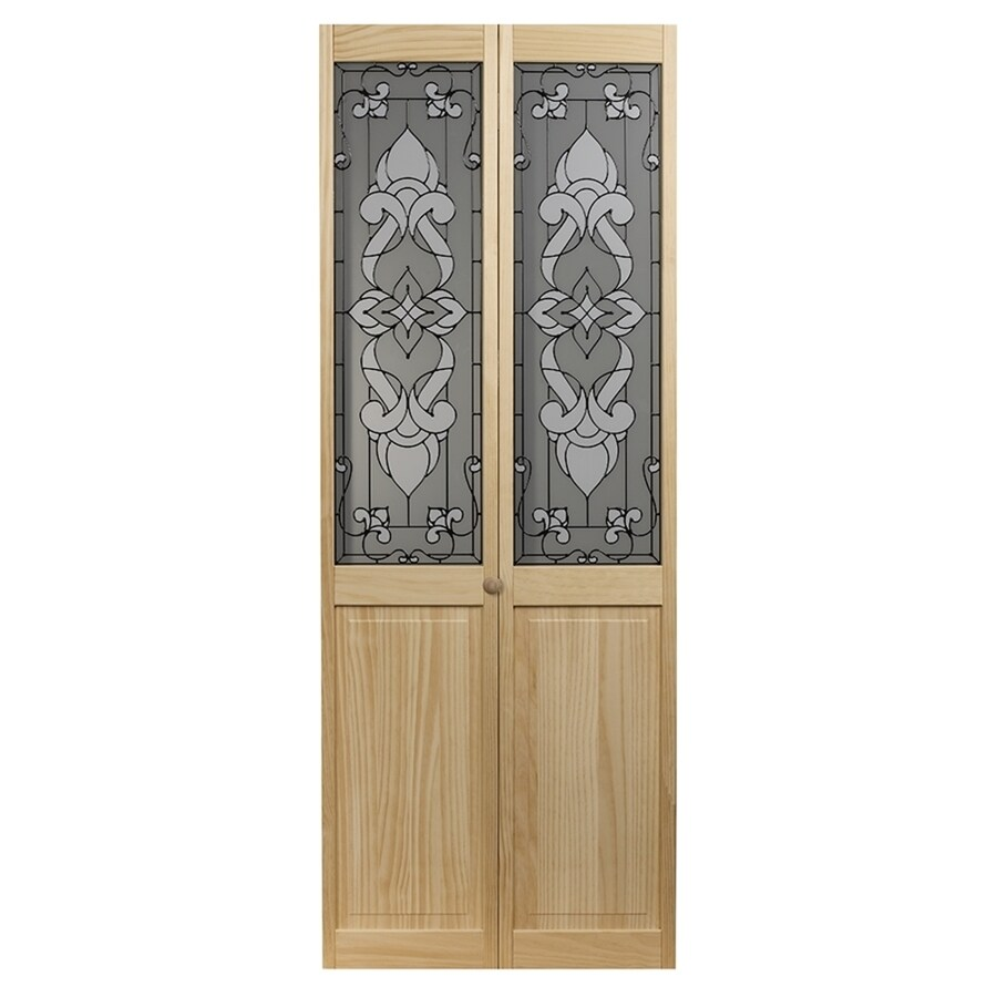 Pinecroft Bistro Solid Core 1-Lite Patterned Glass Pine Bi-Fold Closet Interior Door (Common: 36-in x 80-in; Actual: 35.5-in x 78.625-in)
