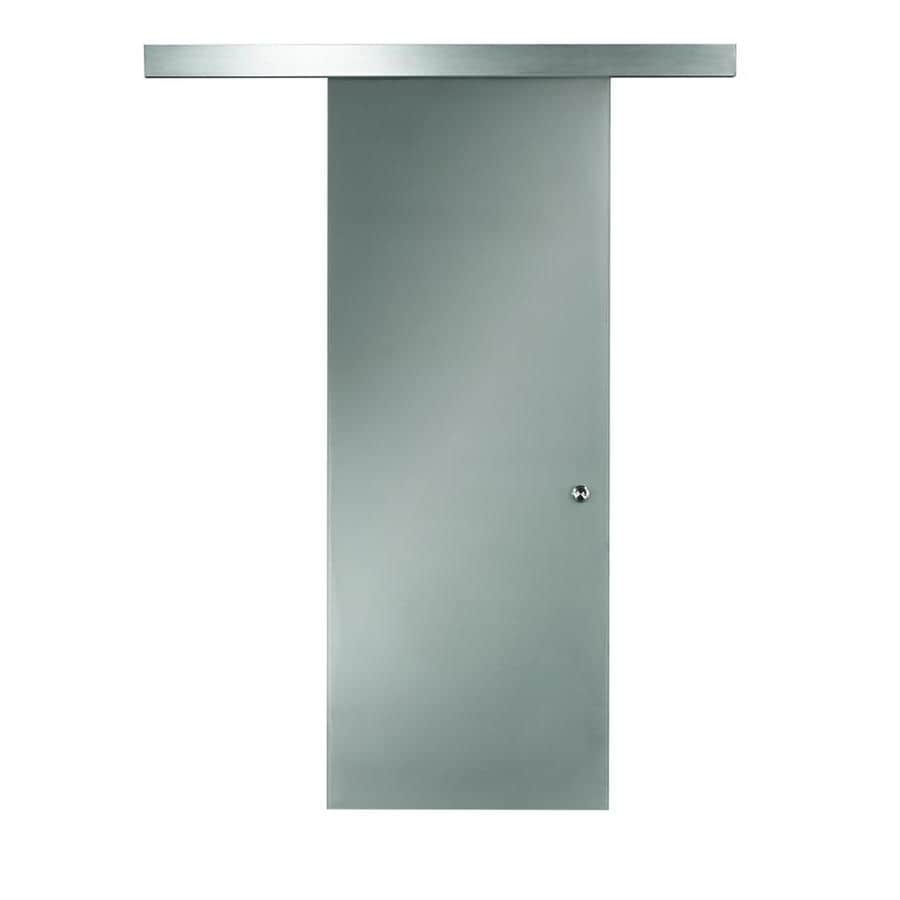 Pinecroft Opaque Glass Barn Door Full Lite Frosted Glass Barn Door (Common: 30-in x 96-in; Actual: 32-in x 97-in)