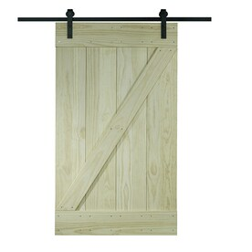 Pinecroft Unfinished 1 Panel Wood Pine Barn Door Kit Hardware Included Common 24