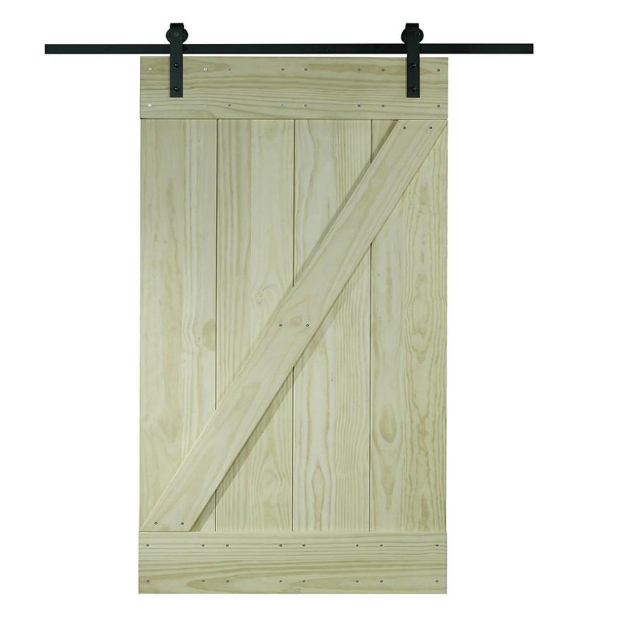 Pinecroft Pine Z Design Barn Door Solid Core Z-Frame Pine Barn Door (Common: 36-in x 80-in; Actual: 38-in x 81-in)