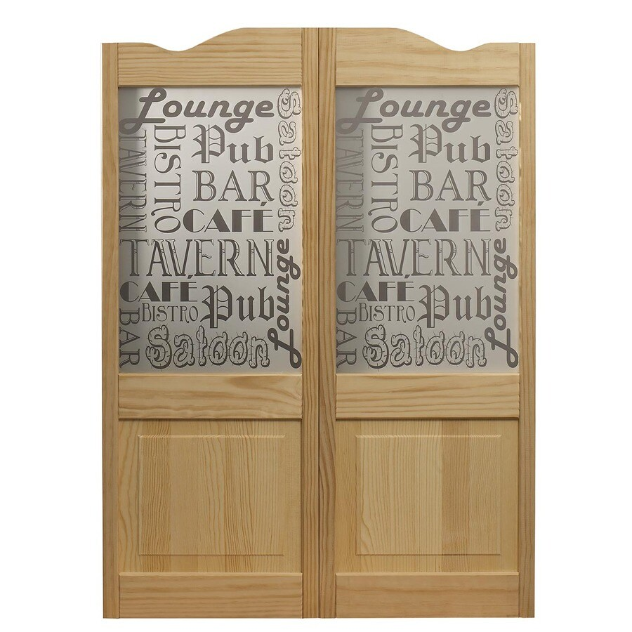 Pinecroft Pub Cafe Solid Core 1-Lite Patterned Glass Pine Cafe Interior Door (Common: 36-in x 42-in; Actual: 36-in x 42-in)