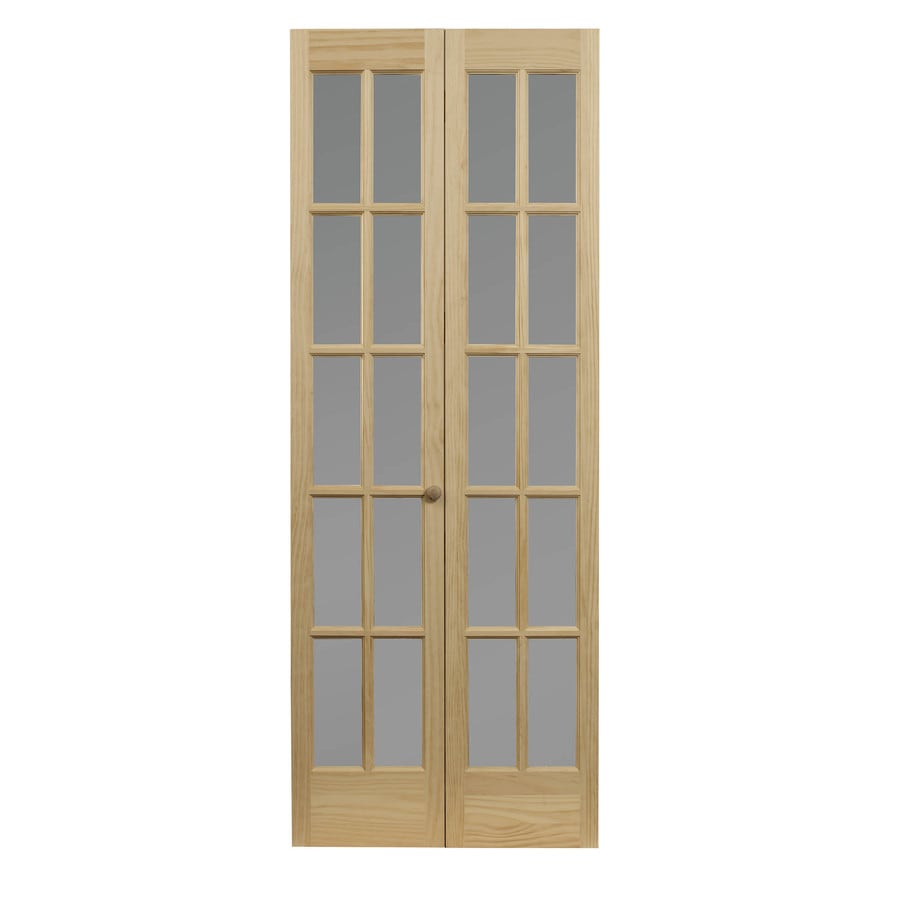 Pinecroft Classic French Solid Core Frosted Glass Pine Bi-Fold Closet Interior Door with Hardware (Common: 30-in x 80-in; Actual: 29.5-in x 78.625-in)