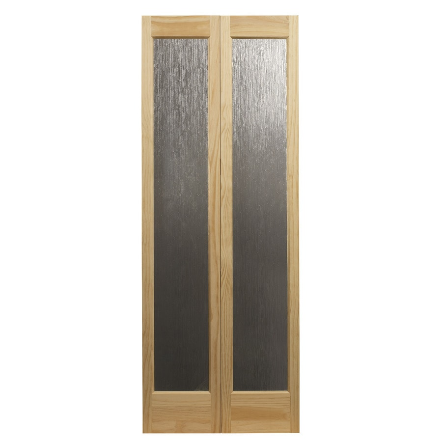 Pinecroft Rain Unfinished Pine Wood 2 Panel Square Wood Pine Bifold Door  With Hardware (