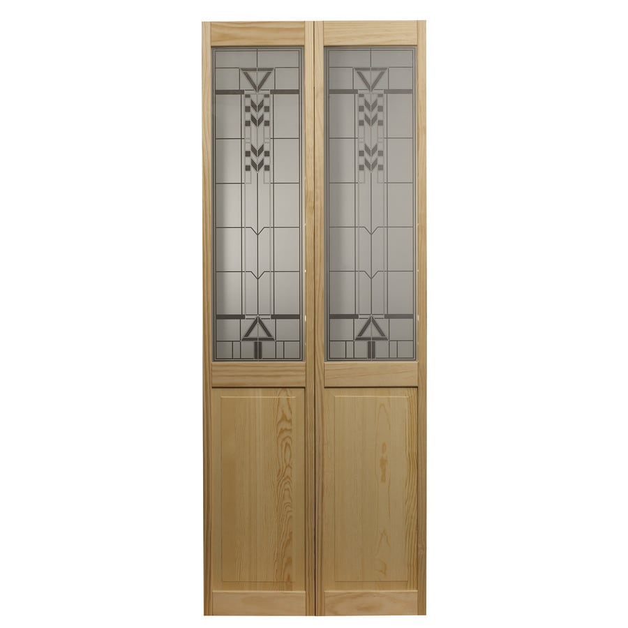 Pinecroft Deco Solid Core 1-Lite Patterned Glass Pine Bi-Fold Closet Interior Door (Common: 32-in x 80-in; Actual: 31.5-in x 78.625-in)