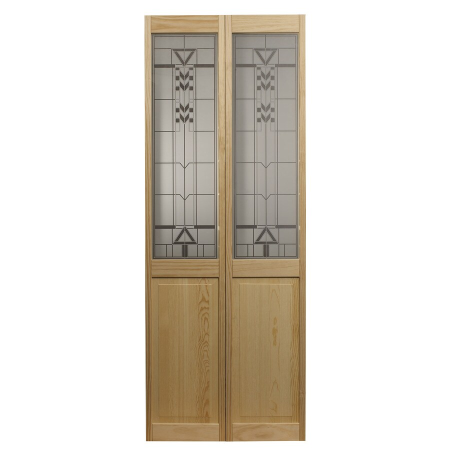 Pinecroft Deco Solid Core 1-Lite Patterned Glass Pine Bi-Fold Closet Interior Door (Common: 36-in x 80-in; Actual: 35.5-in x 78.625-in)