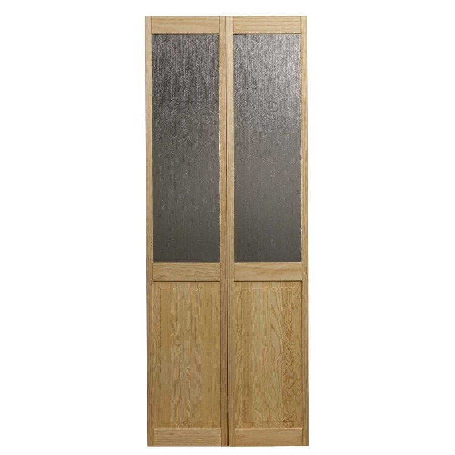 Pinecroft Rain Solid Core 1-Lite Patterned Glass Pine Bi-Fold Closet Interior Door (Common: 32-in x 80-in; Actual: 31.5-in x 78.625-in)