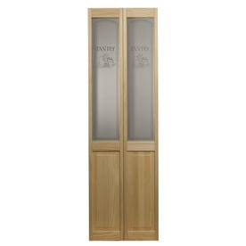 Pinecroft Pantry Unfinished Pine Wood 2 Panel Square Bifold Door Hardware Included