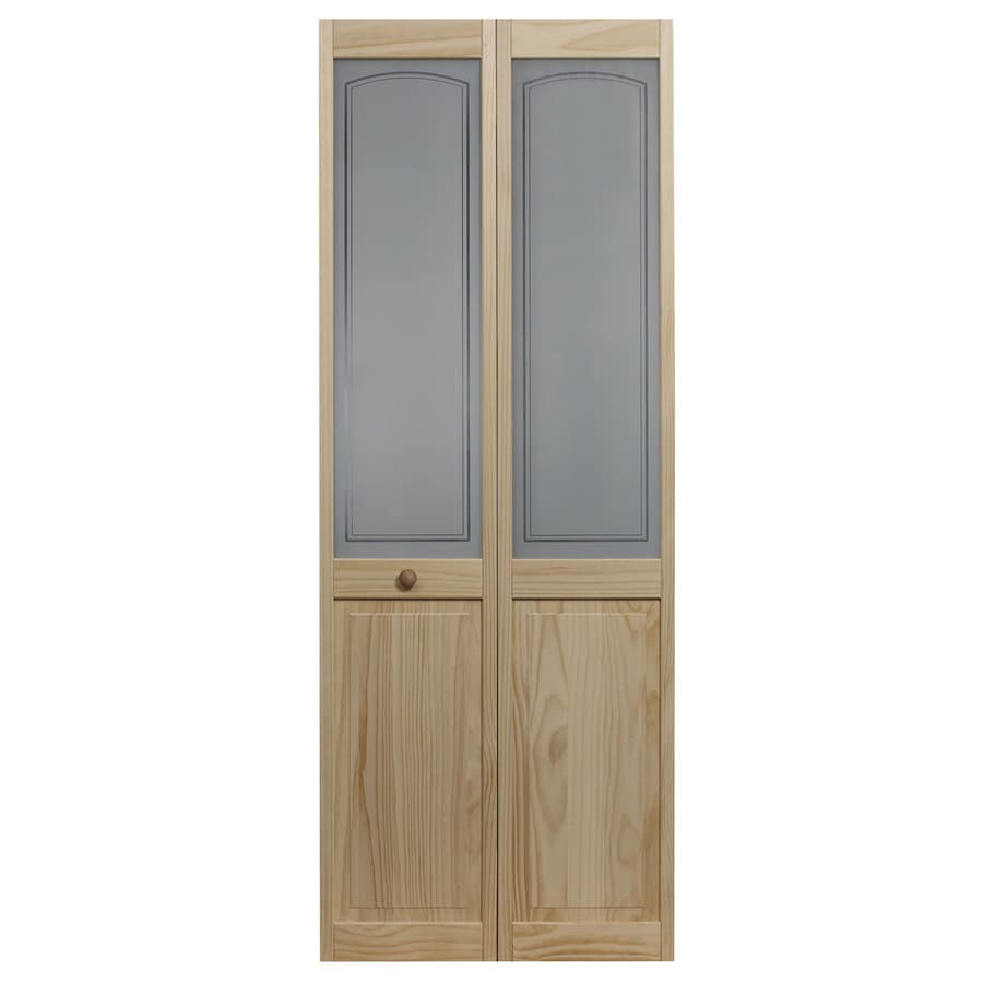 Pinecroft Mezzo Solid Core 1-Lite Frosted Glass Pine Bi-Fold Closet Interior Door (Common: 36-in x 80-in; Actual: 35.5-in x 78.625-in)