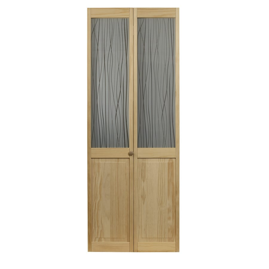 Pinecroft Grass Solid Core 1-Lite Patterned Glass Pine Bi-Fold Closet Interior Door (Common: 32-in x 80-in; Actual: 31.5-in x 78.625-in)