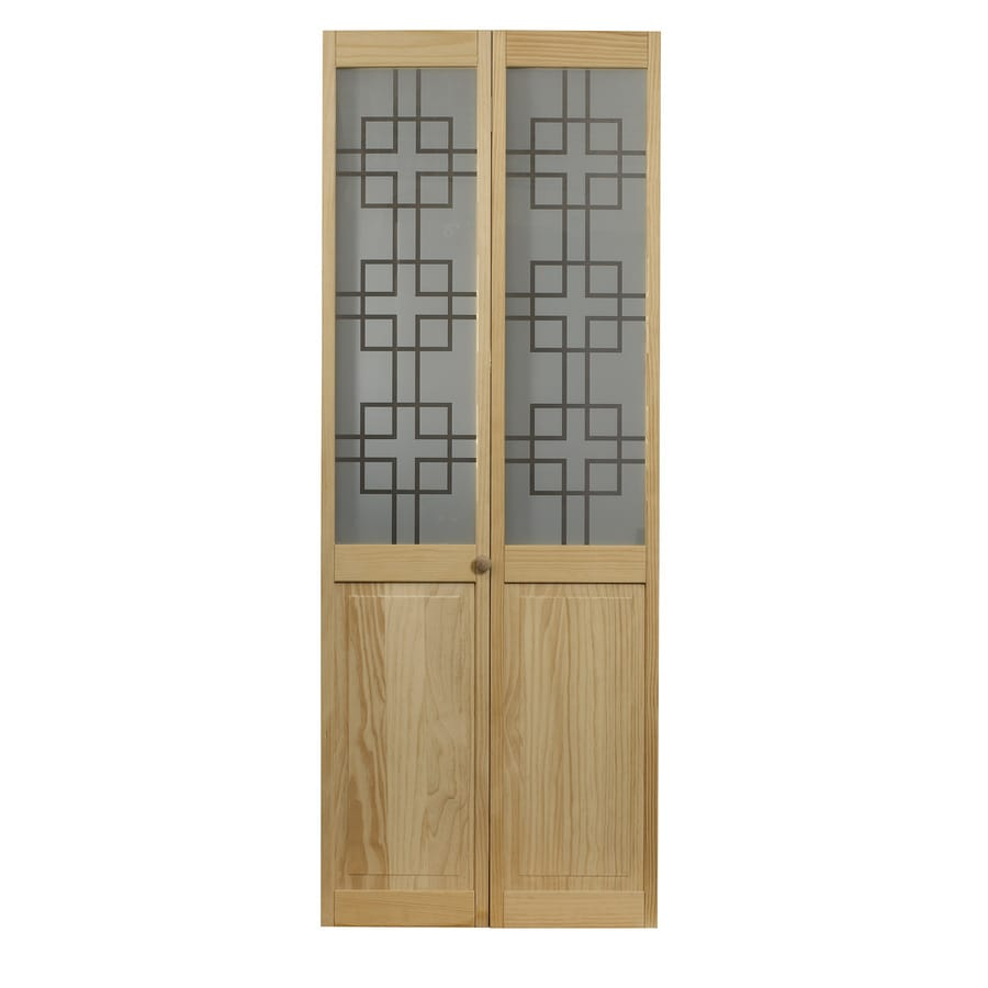 Pinecroft Geometric Solid Core 1-Lite Patterned Glass Pine Bi-Fold Closet Interior Door (Common: 36-in x 80-in; Actual: 35.5-in x 78.625-in)