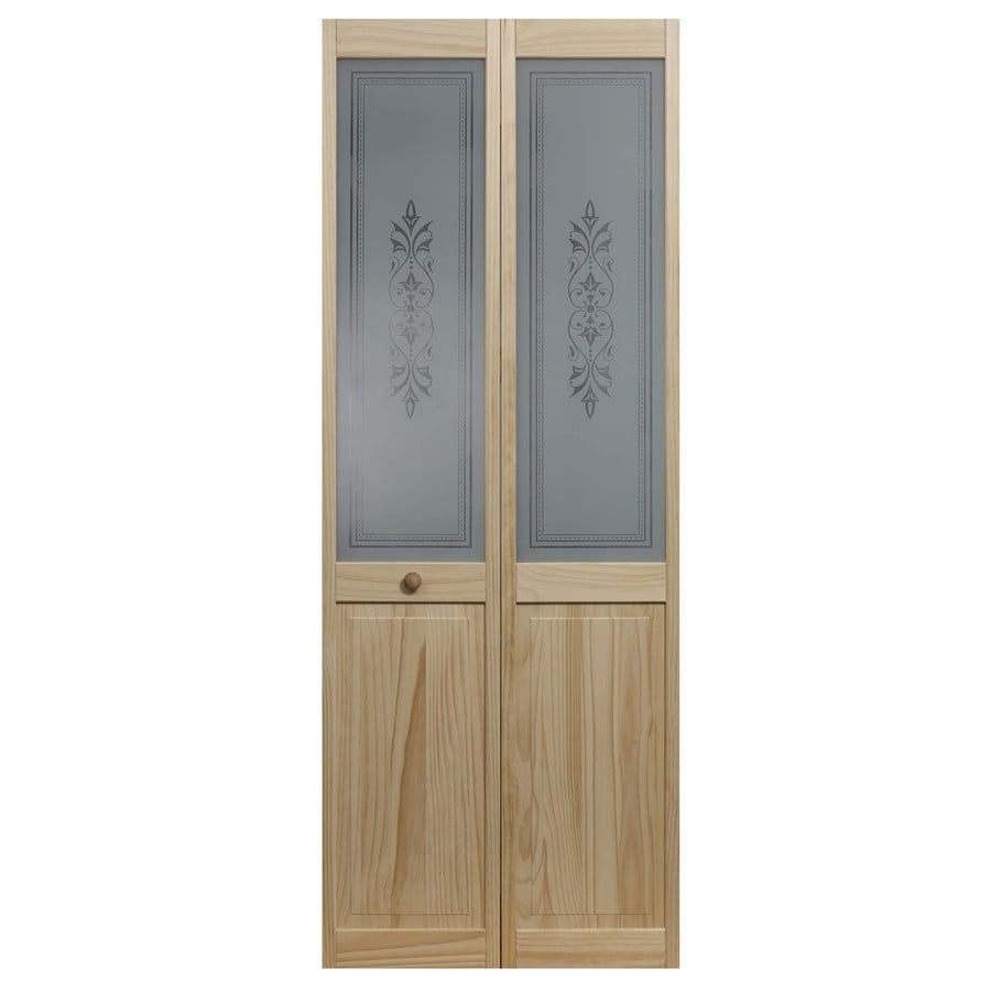 Shop pinecroft lace solid core frosted glass pine bi fold closet interior door with hardware Interior doors frosted glass