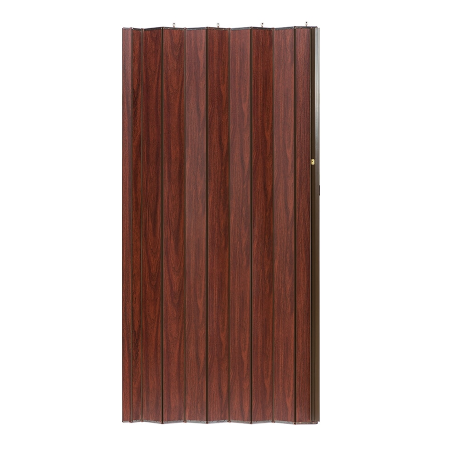 Shop Spectrum Woodshire Brown Solid Core 1 Panel Accordion Interior Door Common 48 In X 96 In