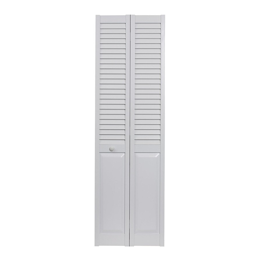 Pinecroft Seabrooke White Hollow Core Louver/Panel Bi-Fold Closet Interior Door (Common: 30-in x 80-in; Actual: 29.5-in x 78.625-in)