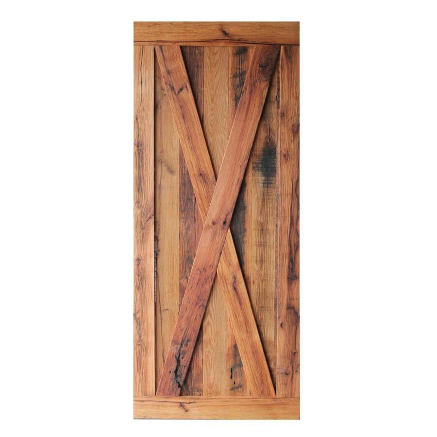 Pinecroft Oak Unfinished 1 Panel Reclaimed Wood Oak Barn Door