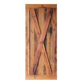 Pinecroft Oak Unfinished 1 Panel Reclaimed Wood Oak Barn Door (Common: 36