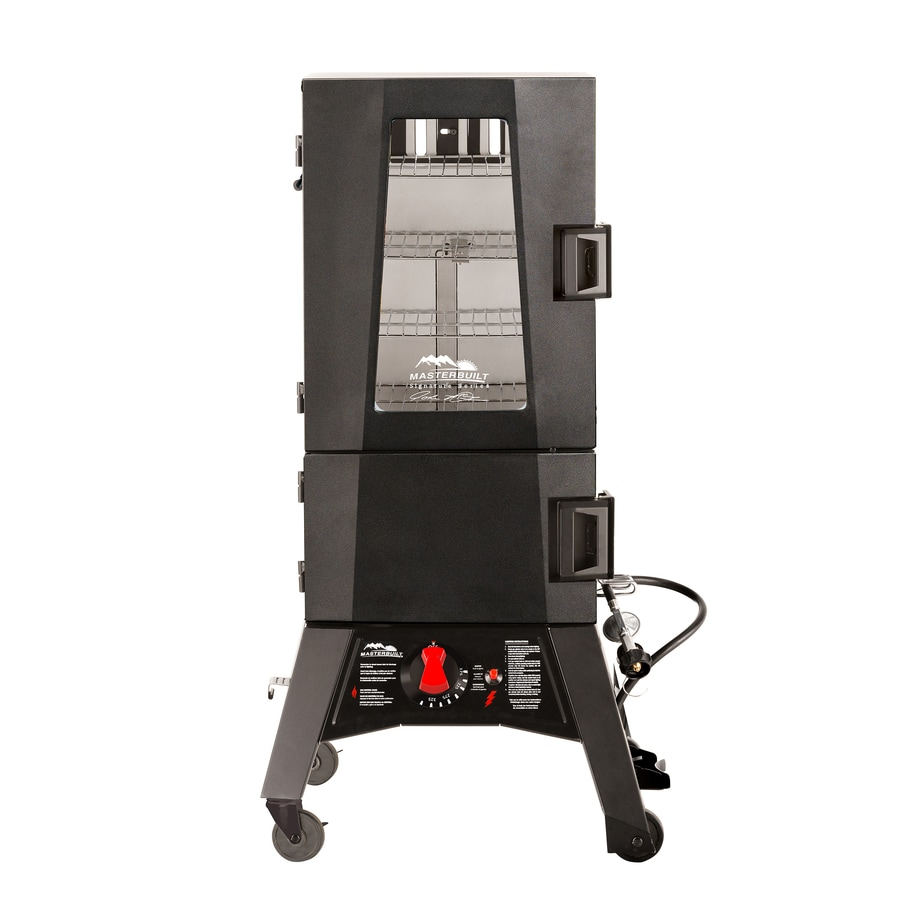 Masterbuilt JMSS Thermotemp 20-lb Cylinder Piezo Ignition Gas Vertical Smoker (Common: 41.8-in; Actual: 41.8-in)