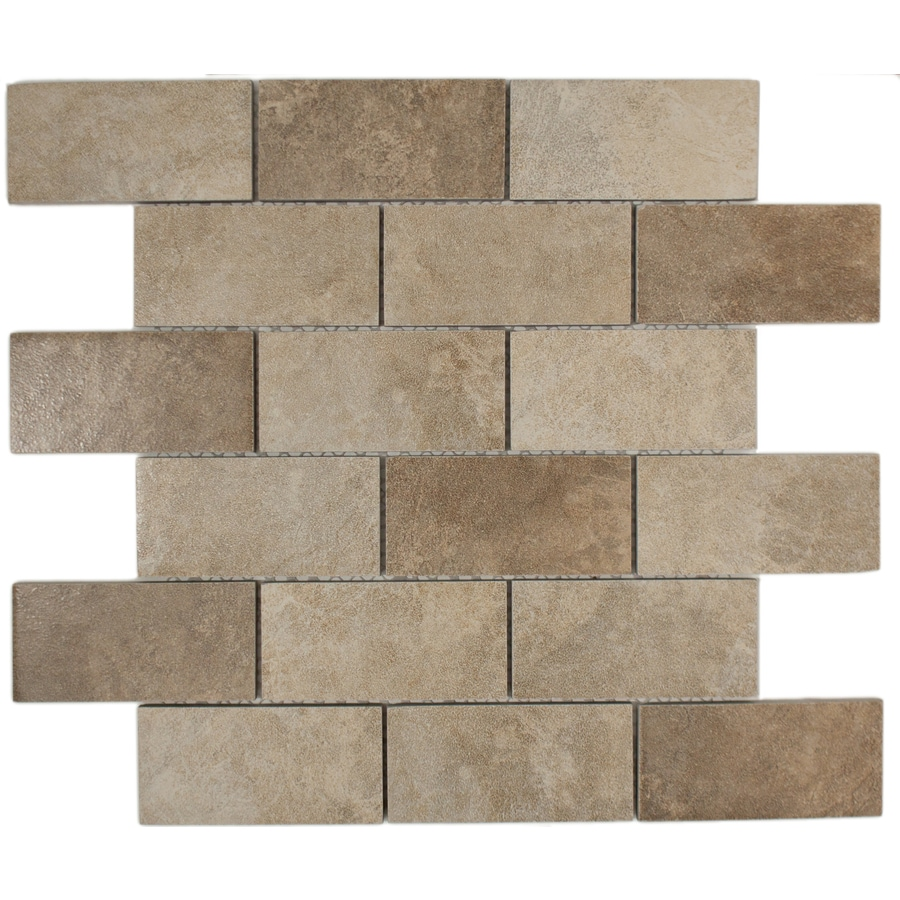 GBI Tile & Stone Inc. Monaco Mixed/Glazed Porcelain Brick Mosaic Porcelain Wall Tile (Common: 12-in x 12-in; Actual: 11.81-in x 11.81-in)