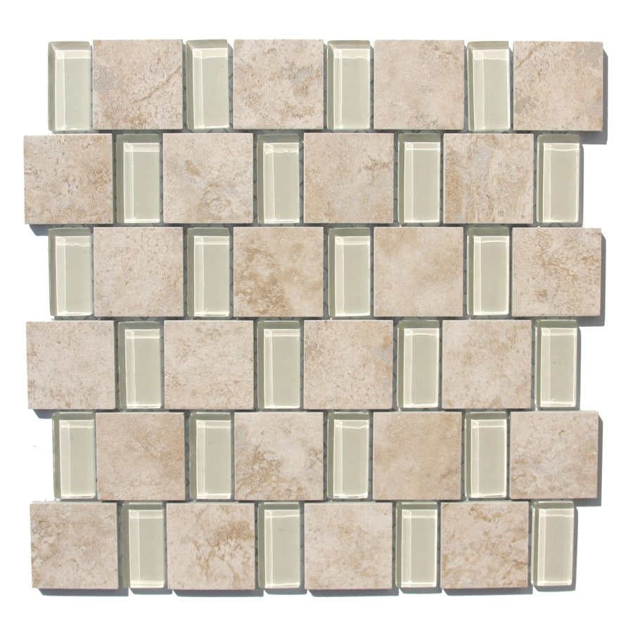 GBI Tile & Stone Inc. Capri Glazed Porcelain/Glass Mosaic Porcelain Wall Tile (Common: 12-in x 12-in; Actual: 11.81-in x 11.81-in)