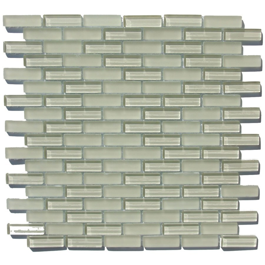 Shop 12 in x 12 in ivoryglossglass glass mosaic subway wall tile 12 in x 12 in ivoryglossglass glass mosaic subway wall dailygadgetfo Gallery