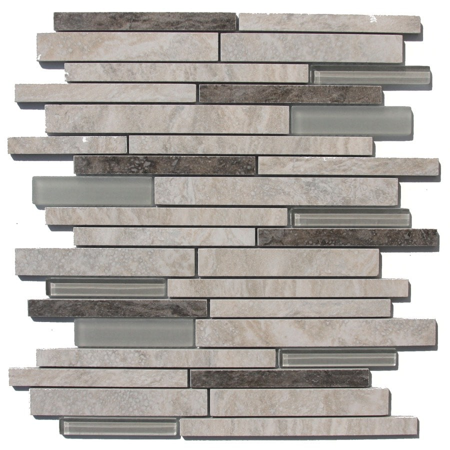 Style Selections Floriana Heather Linear Mosaic Porcelain Wall Tile (Common: 12-in x 14-in; Actual: 11.81-in x 13.78-in)