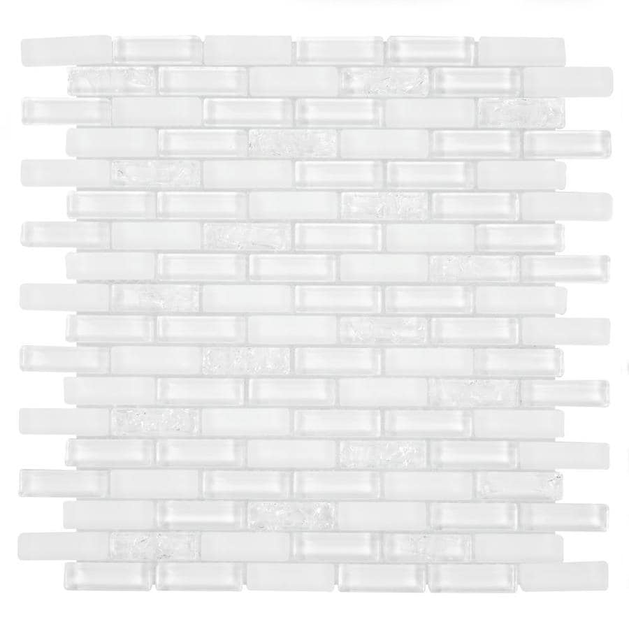 Shop GBI Tile & Stone Inc. Gemstone White Mosaic Glass Subway Tile ...