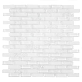GBI Tile & Stone Inc. Gemstone White 12-in x 12-in Glossy Glass Brick Subway Wall Tile